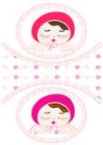 Карточка для newborn близнецов девушки иллюстрация вектора
