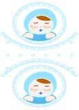 Карточка для newborn близнецов мальчика бесплатная иллюстрация