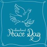 Карточка дня мира во всем мире Литерность написанная рукой с голубем и оливковой веткой также вектор иллюстрации притяжки corel бесплатная иллюстрация