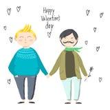 Карточка дня ` s валентинки, симпатичная пара гомосексуалиста Стоковые Изображения