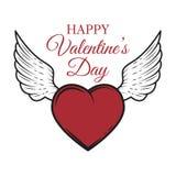 Карточка дня ` s валентинки с сердцем и крылами Стоковые Изображения