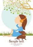 Карточка девушки и собаки Стоковая Фотография