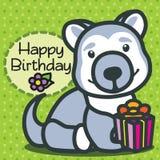 Карточка день рождения счастливый Собака Haski Стоковая Фотография