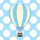 Карточка детского душа с милым горячим воздушным шаром на голубой предпосылке иллюстрация вектора