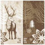 Карточка зимы, олень Стоковое Изображение RF