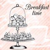 Карточка дизайна Breakfasrt ретро нарисованная рукой Стоковое Изображение