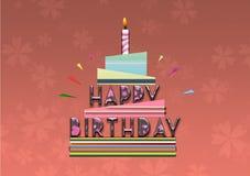 Карточка иллюстрации именниного пирога с днем рождений Стоковые Фото