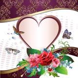 Карточка иллюстрации с сердцем иллюстрация вектора