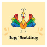 Карточка индюка счастливого благодарения красивая Стоковые Фото