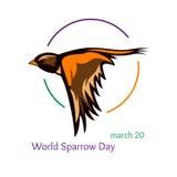 Карточка или логотип на день мира воробья Стоковое Изображение RF