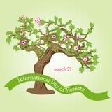 Карточка или логотип на международный день леса Стоковые Фото