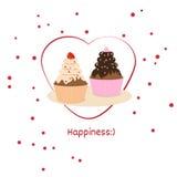 Карточка или логотип на международный день счастья Стоковые Изображения RF