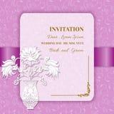 Карточка или приглашение свадьбы Стоковое Изображение RF