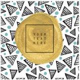 Карточка или плакат нарисованные рукой предпосылка изгибает текстуру макроса золота рамки старую Стоковая Фотография RF