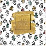 Карточка или плакат нарисованные рукой предпосылка изгибает текстуру макроса золота рамки старую Стоковые Изображения RF