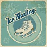 Карточка катания на коньках ретро Стоковые Фотографии RF