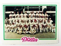 Карточка 1978 команды Phillies бейсбольной карточки Topps года сбора винограда установленная стоковая фотография