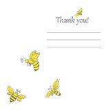 Карточка концепции весны пчелы Doodle Стоковые Фото