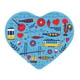 Карточка концепции перемещения Иллюстрация влюбленности для Стоковая Фотография RF