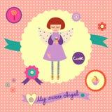 Карточка концепции с милым ангелом Стоковое Изображение