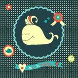 Карточка концепции с милым китом Стоковое Изображение RF