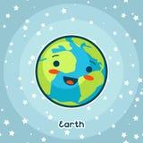 Карточка космоса Kawaii Doodle с милым выражением лица Иллюстрация земли шаржа в звёздном небе бесплатная иллюстрация