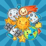Карточка космоса Kawaii Doodles с милым выражением лица Иллюстрация солнца, земли, луны, ракеты и небесного шаржа иллюстрация штока