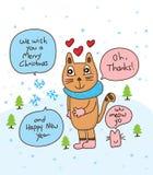 Карточка кота снежинки Стоковые Изображения