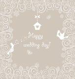 Карточка красивой свадьбы кружевная с симпатичными птицами Стоковые Фотографии RF