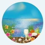 Карточка лета тропическая с коктеилем, вектором Стоковое Фото