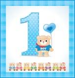 карточка мальчика дня рождения младенца Стоковая Фотография