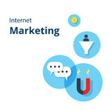 Карточка маркетинга интернета с плоскими значками маркетинга интернета Для графиков вебсайта, передвижное Apps, дизайн плана инте Стоковое фото RF