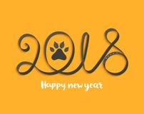 Карточка на 2018 год с лапкой собаки Стоковое Изображение