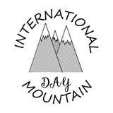Карточка на международный день горы в линейном стиле Стоковая Фотография