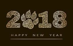 Карточка Нового Года с 2018 год сделанных по образцу с Дзэн золота запутала формы, и Новый Год текста счастливый 10 eps Стоковые Изображения RF