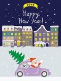 Карточка Нового Года 2018 с приходя santa к городу ночи старому Стоковое Изображение RF