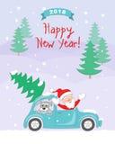 Карточка Нового Года 2018 с santa, собакой в автомобиле Стоковые Изображения RF