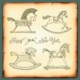 Карточка Нового Года винтажная с тряся лошадями игрушек Стоковое Изображение RF