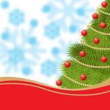 Карточка Нового Года с елью украсила красные шарики и гирлянду золота Стоковое Фото