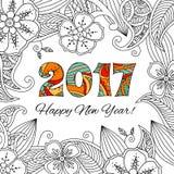 Карточка Нового Года с 2017 на флористической предпосылке Стоковые Изображения