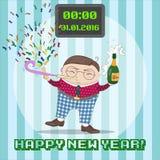 Карточка Нового Года greating с смешным персонажем из мультфильма Стоковое Фото