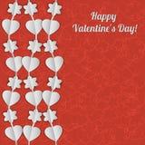 Карточка дня валентинки с белыми гирляндами сердец и цветков Стоковая Фотография