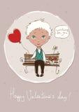 Карточка дня валентинки с милым мальчиком бесплатная иллюстрация