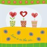 Карточка дня валентинки с цветком сердец иллюстрация вектора