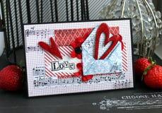 Карточка дня валентинки handmade Стоковое Фото