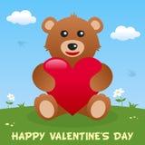 Карточка дня валентинки s плюшевого медвежонка счастливая иллюстрация штока