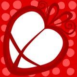 Карточка дня валентинок рамки подарка сердца Стоковое Изображение