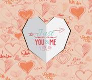 Карточка дня валентинок сердца белой бумаги иллюстрация вектора