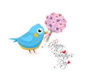 Карточка дня валентинок с букетом и птицей цветка Литерность нарисованная рукой иллюстрация штока