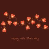 Карточка дня валентинок с красными светами Стоковое фото RF